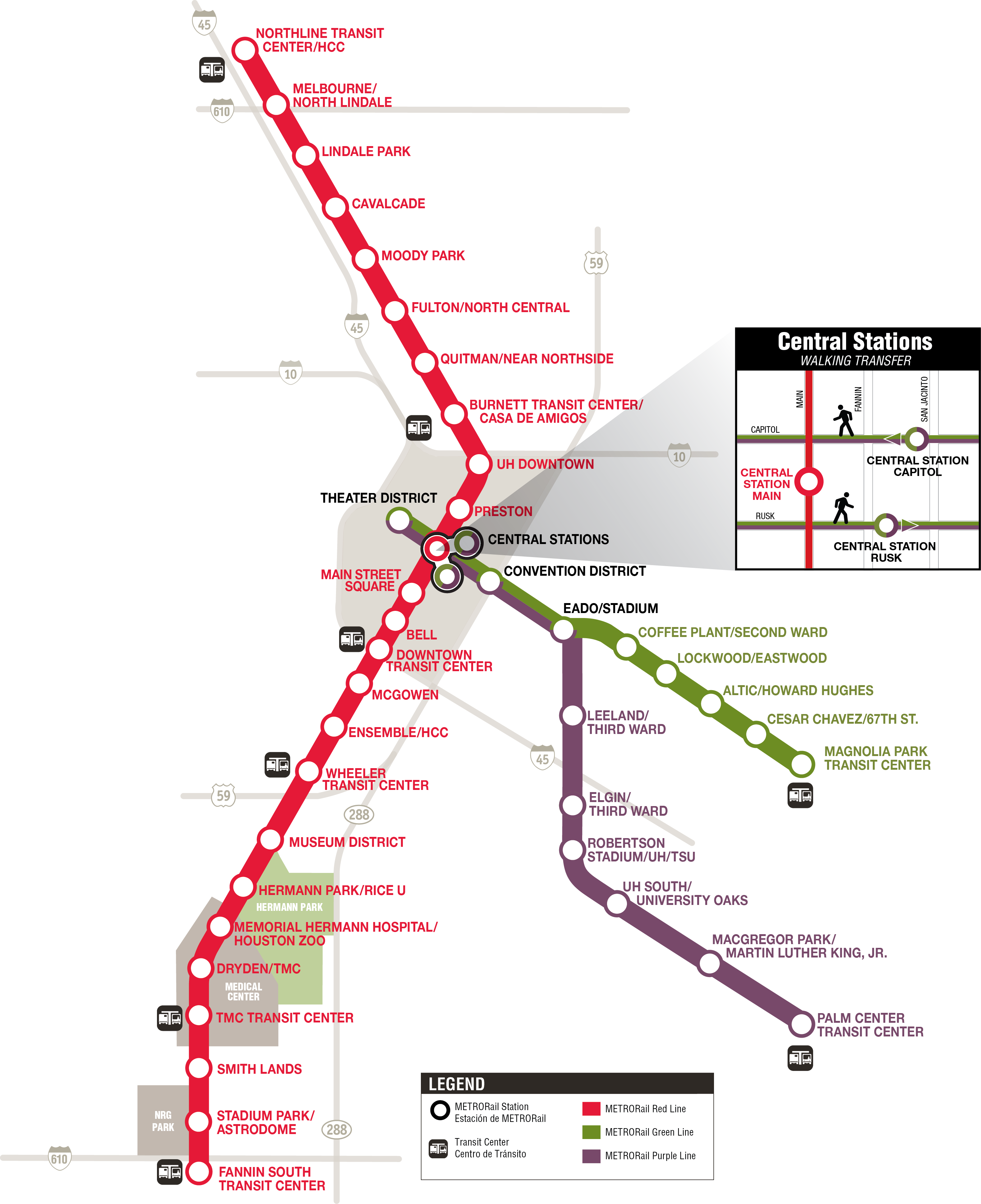 Metro Rail Houston Map | Prasnebarve